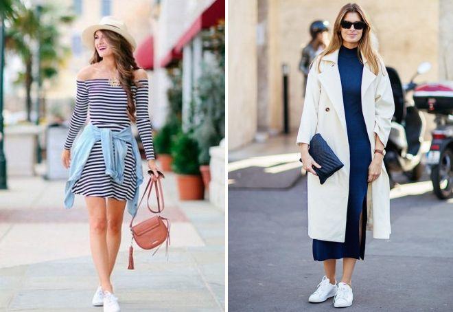 какие платья можно носить с кроссовками