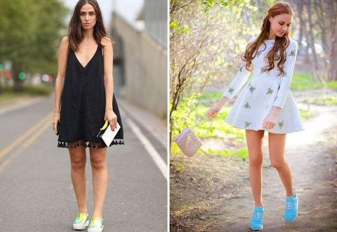 какие кроссовки носить с платьем