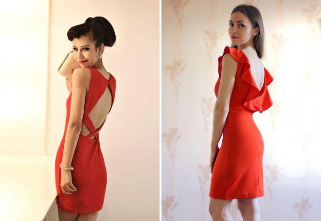 платье-футляр с открытой спиной