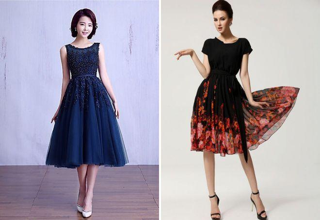 платье с пышной юбкой до колена
