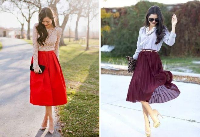 юбка в складку с чем носить