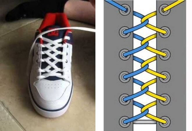 Картинки как зашнуровывать шнурки у кед