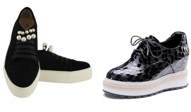черные слипоны на шнурках