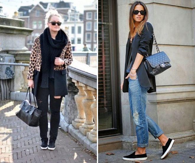черные слипоны с джинсами 2017 года