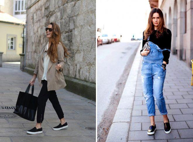 черные слипоны с джинсами 2017
