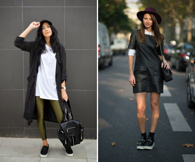черные слипоны с платьем футболкой