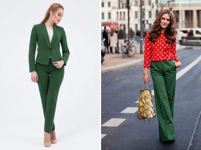 зеленые классические брюки 2017