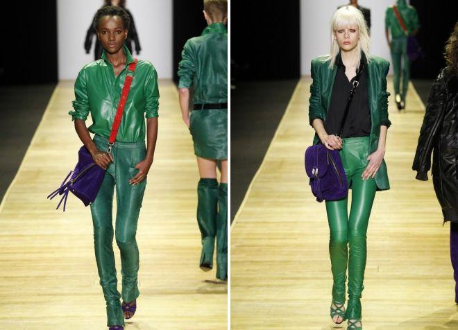 зеленые кожаные брюки