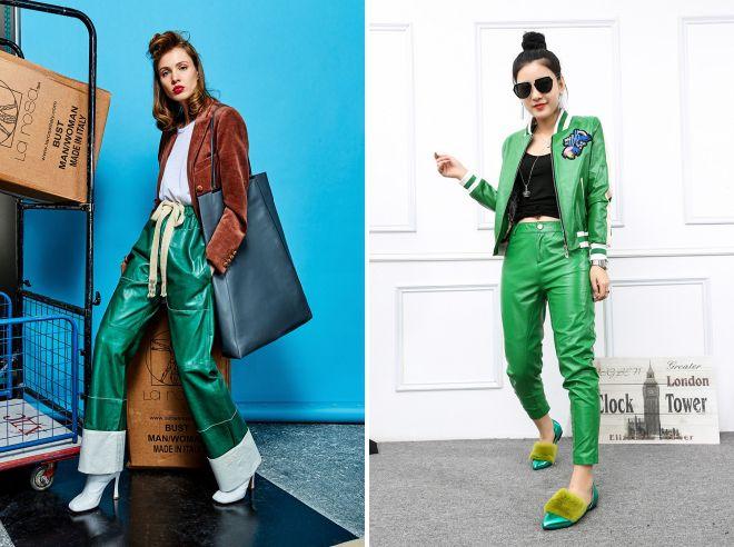 зеленые кожаные брюки 2017