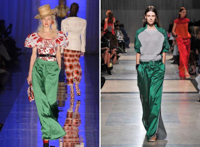 зеленые шелковые брюки