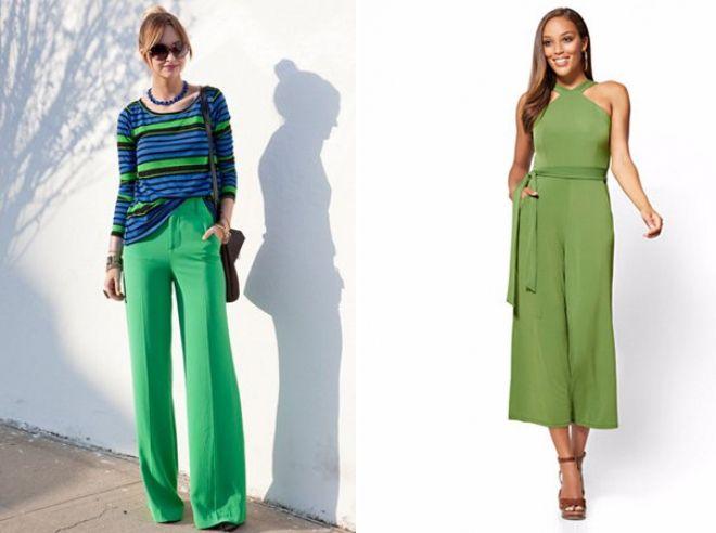 зеленые шелковые брюки 2017 год