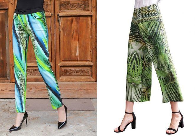 зеленые шелковые брюки 2017