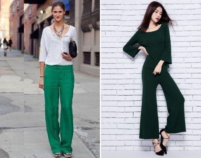 зеленые летние брюки