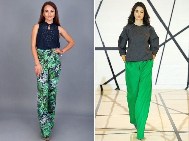 зеленые летние брюки  2017