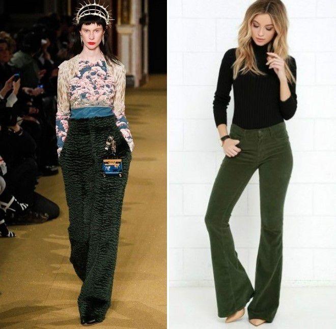 лук с зелеными брюками 2017