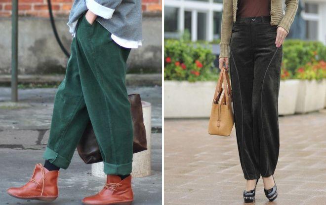 зеленые вельветовые брюки 2017