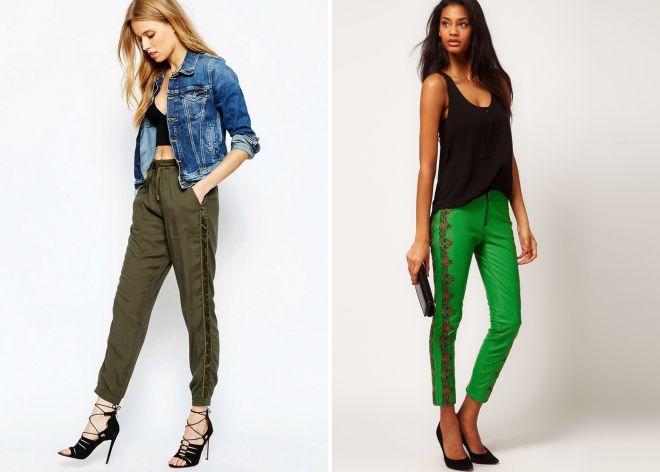 зеленые брюки с лампасами 2017