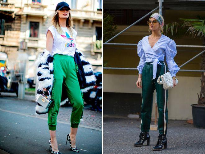 стильный образ для девушки с зелеными брюками