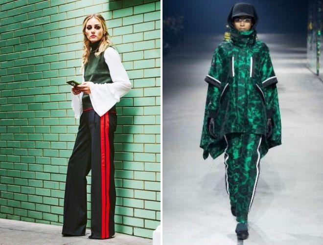 стильный образ для девушки с зелеными брюками 2017