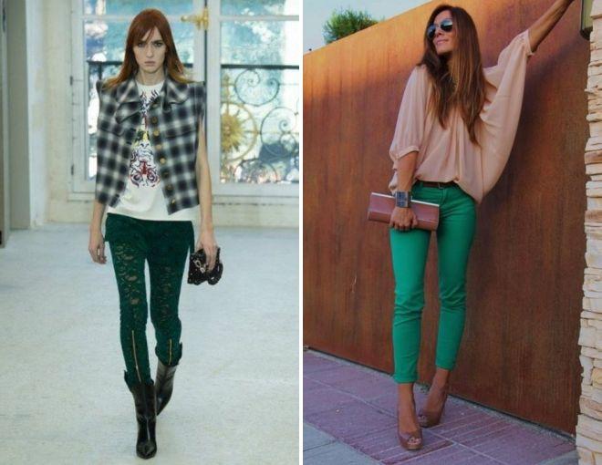 зеленые брюки 2017 года
