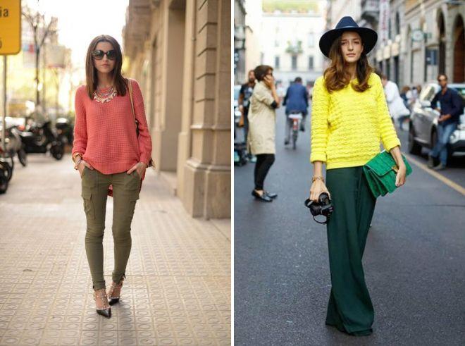 с чем носить зеленые брюки 2017