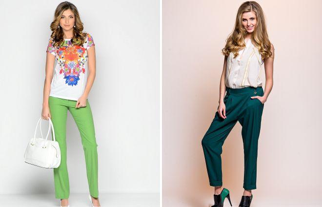 какая блузка подойдет к зеленым брюкам