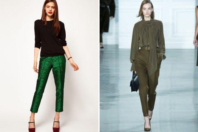 блузки к зеленым брюкам 2017