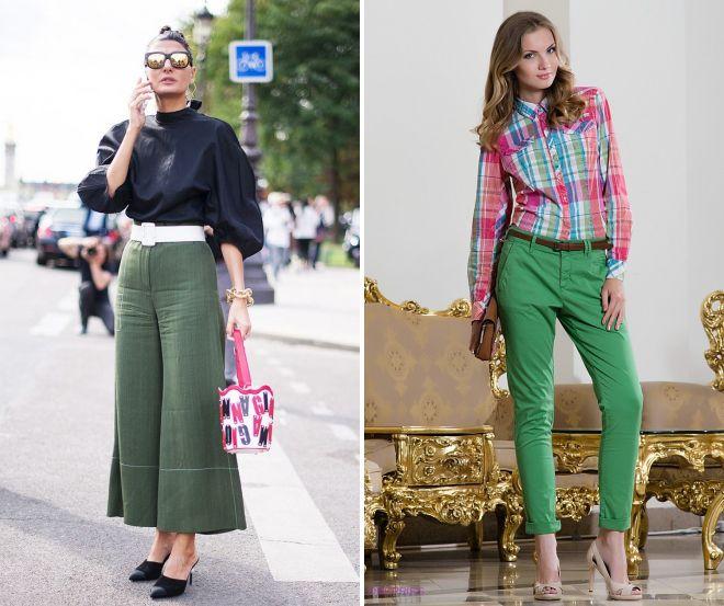 блузки к зеленым брюкам