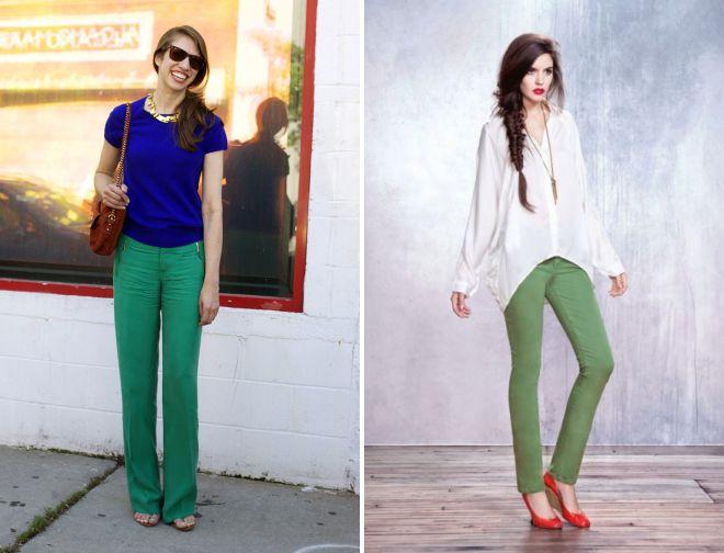 какая блузка подойдет к зеленым брюкам 2017 года