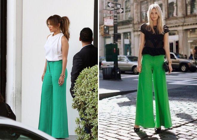 блузки к зеленым брюкам 2017 года