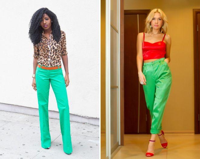 какая блузка подойдет к зеленым брюкам 2017
