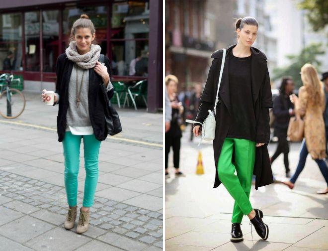 обувь к зеленым брюкам 2017