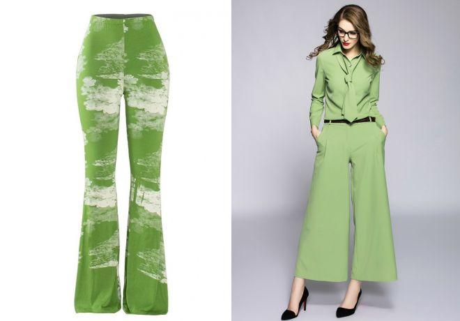 светло зеленые брюки 2017