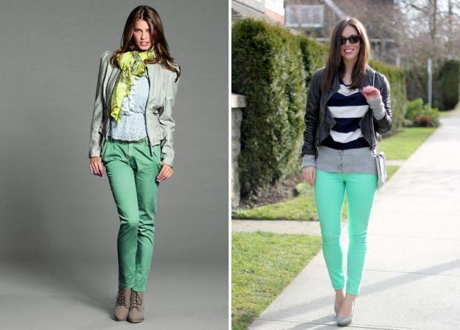 женские зеленые брюки 2017