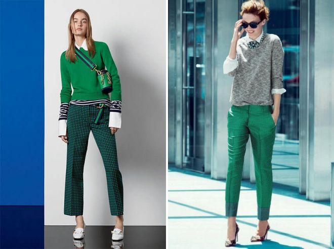 зеленые классические брюки