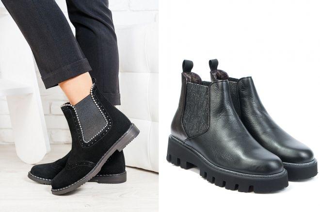 फर के साथ महिलाओं के चेल्सी जूते