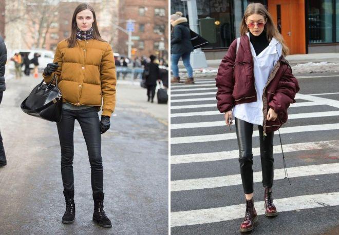 с чем носить женскую дутую куртку