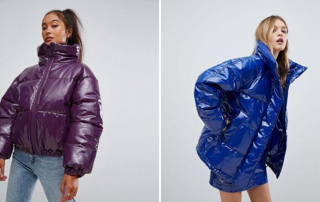 лаковая дутая куртка