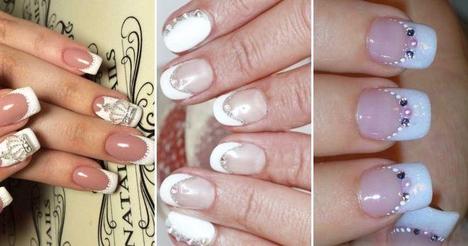 Manicure Perancis dengan rhinestones dan broths