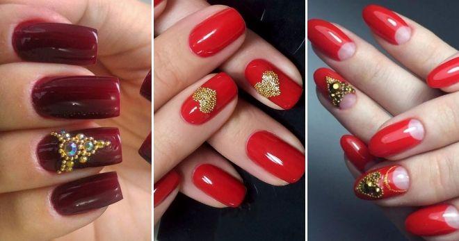 Manicure dengan kaldu emas merah
