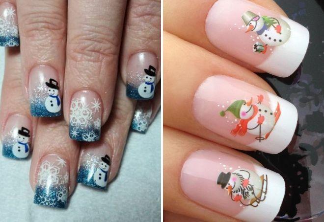 новогодний дизайн ногтей снеговик
