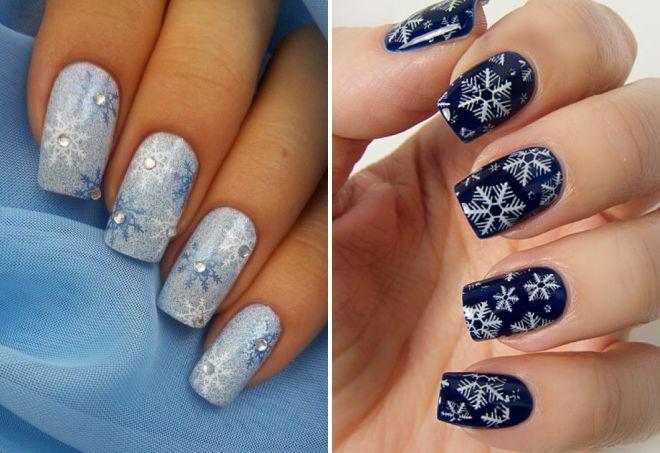 новогодний дизайн ногтей со снежинками