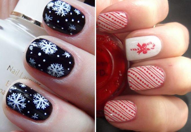 новогодний дизайн на короткие ногти