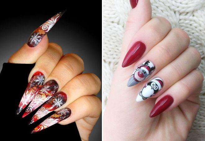 новогодний дизайн на длинные ногти