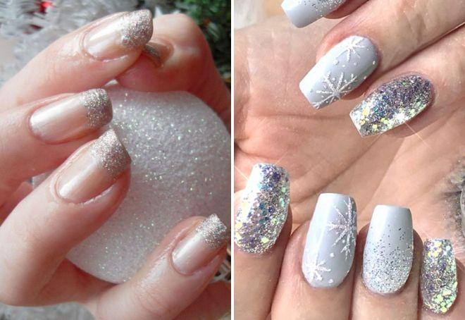 новогодний дизайн ногтей с блестками