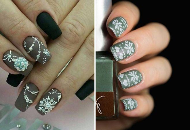 новогодний матовый дизайн ногтей
