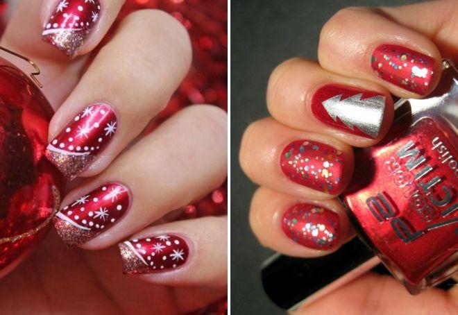 красный новогодний дизайн ногтей