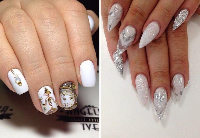 белый новогодний дизайн ногтей