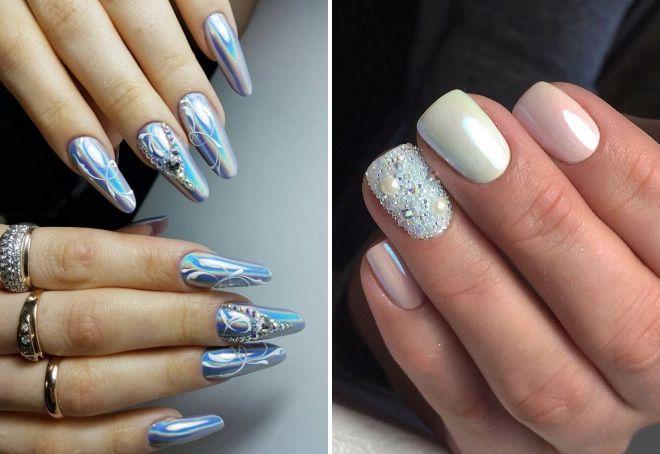 новогодний дизайн ногтей с втиркой