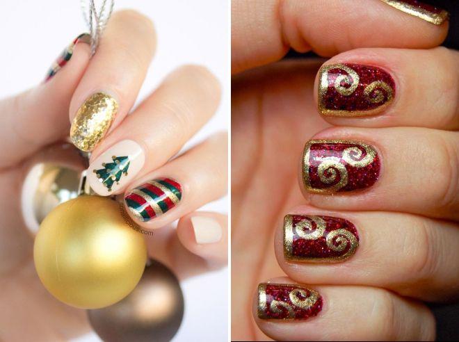 Novogodišnji manikir za kratke nokte s zlatom